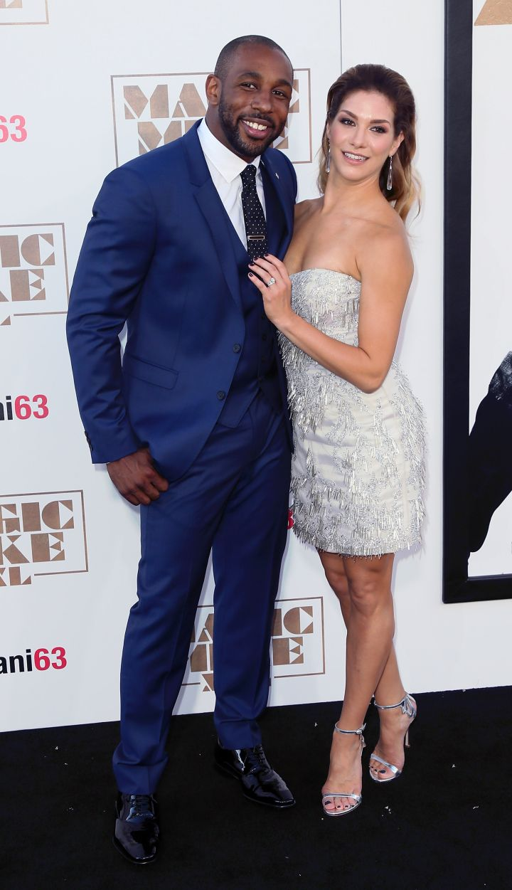 "Stephen ""Twitch"" Boss and wife dancer Allison Holker were all smiles on the carpet."