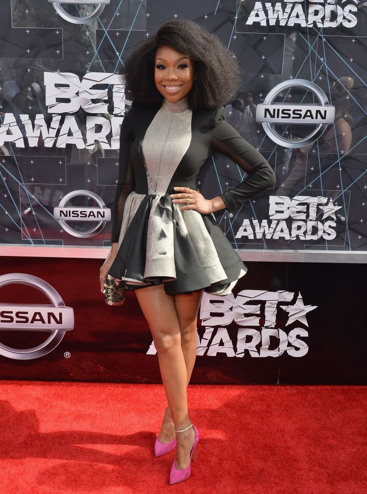 Brandy got playful in this black and gray number.