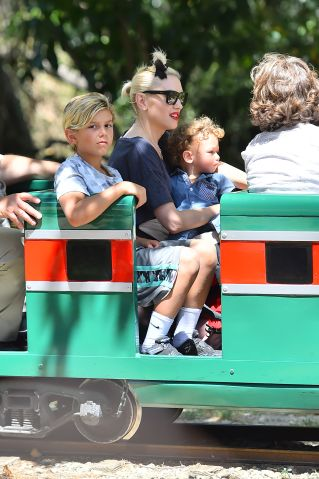 Gwen Stefani takes her boys to the Griffith Park Pony Ride and train ride