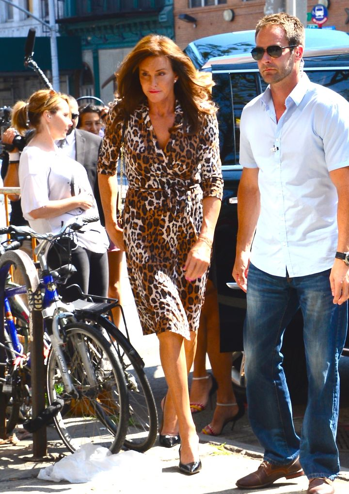 A leggy Caitlyn Jenner does leopard while out and about in SoHo, NYC with friends.