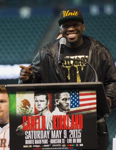 50 Cent- SMS Productions at Fight Announcement People:Curtis Jackson By:Bob Levey Getty Images Sport 465175236 Curtis '50 Cent' Jackson Chairman and CEO of SMS Promotions talks to the media during a press co