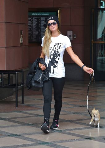 Paris Hilton wears a t-shirt with her own image on it in Beverly Hills, California