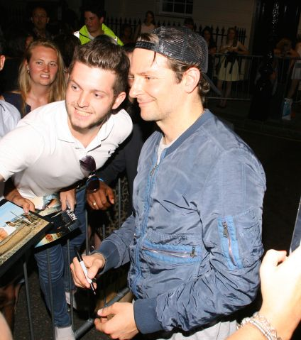 Bradley Cooper pictured at The Elephant Man outside the Theatre Royal in London