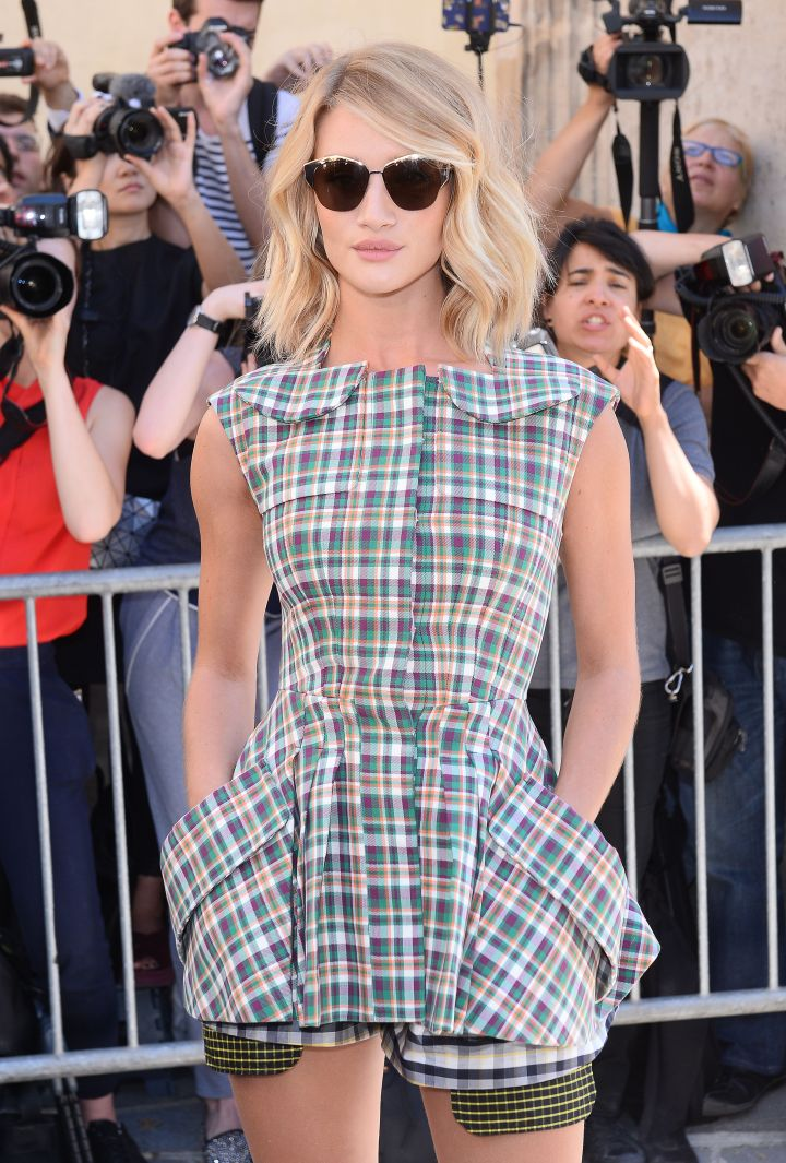 Rosie Huntington-Whiteley got glam at the Dior fashion show in Paris.