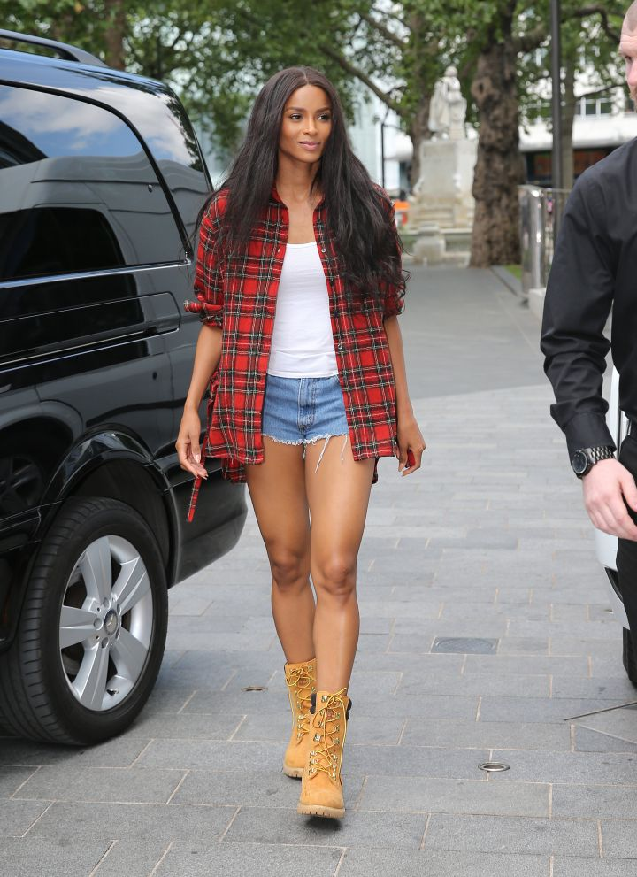 Ciara was spotted out and about rocking her Daisy Dukes in London.