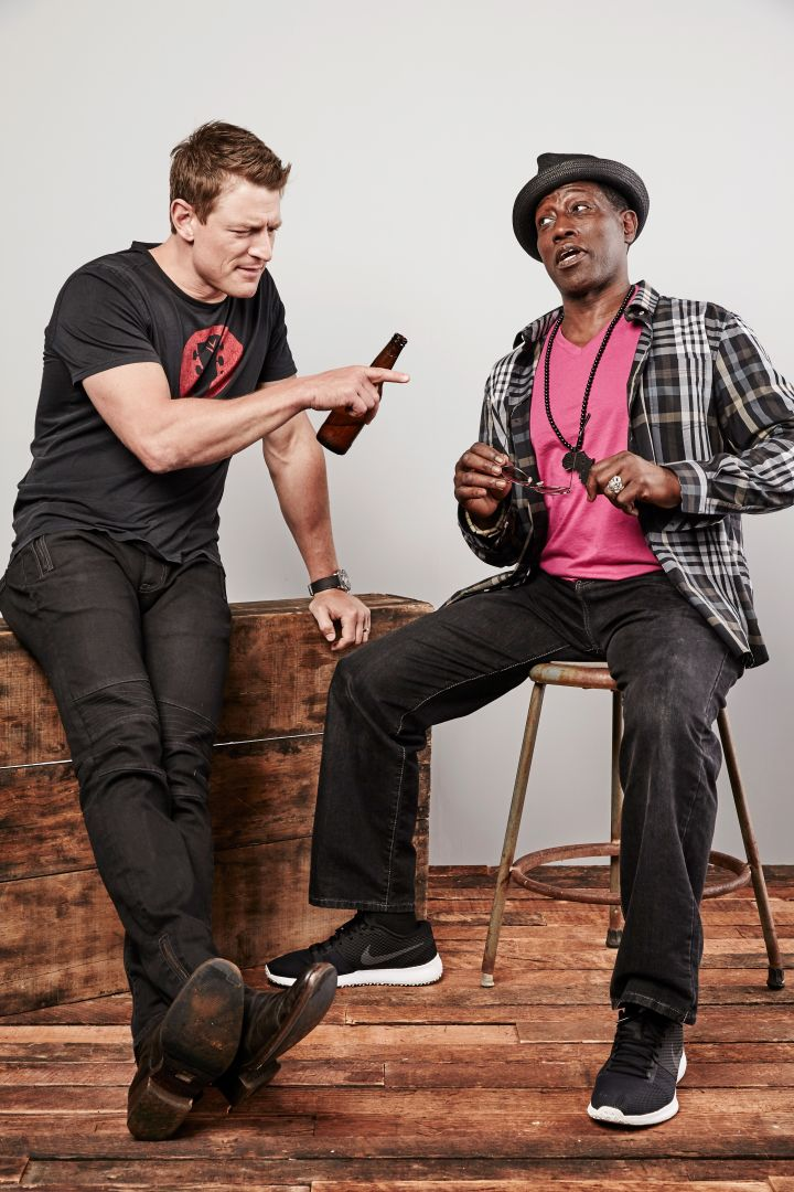 Actors Philip Winchester and Wesley Snipes pose for a portrait at the Getty Images Portrait Studio powered by Samsung Galaxy at Comic-Con International 2015 at Hard Rock Hotel San Diego.