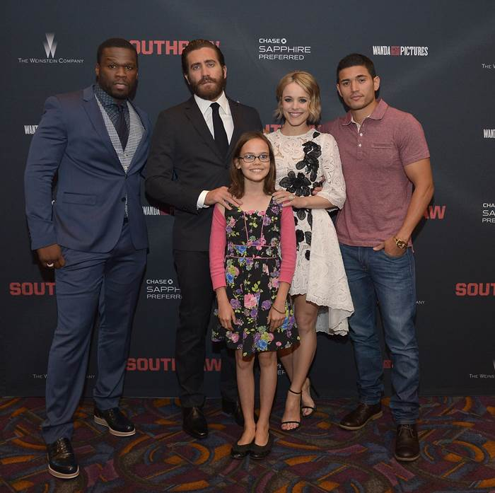 """50 Cent hosted a screening for his new movie """"Southpaw"""" with the cast: Jake Gyllenhaal, Rachel McAdams, Oona Laurence, and Miguel Gomez."""