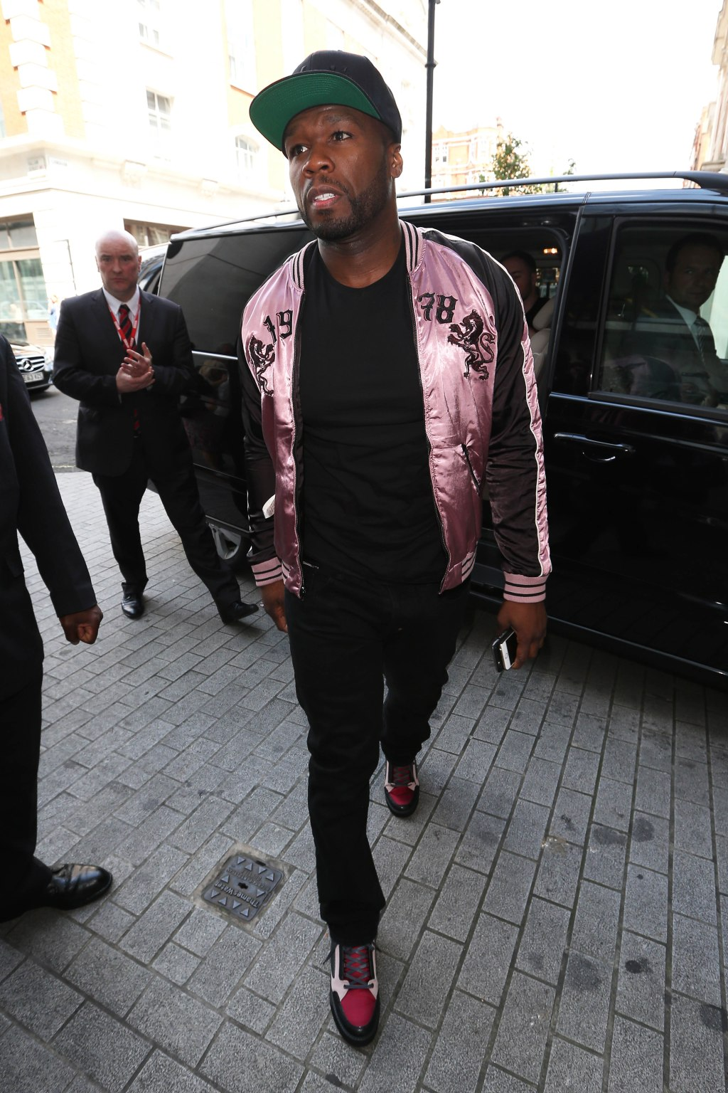 Curtis Jackson aka 50 Cent seen arriving at BBC Radio 1 in Central London this afternoon.
