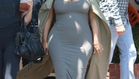 Kim Kardashian out for lunch showing her baby belly in LA