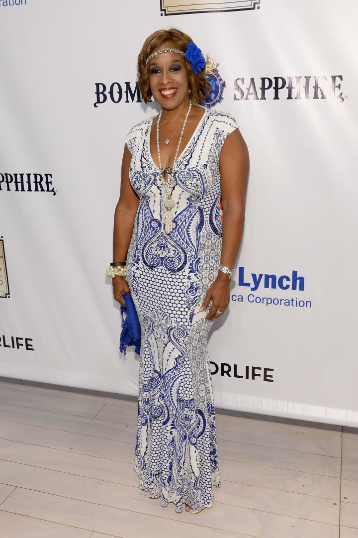 Gayle King got real jazzy in blue and white.