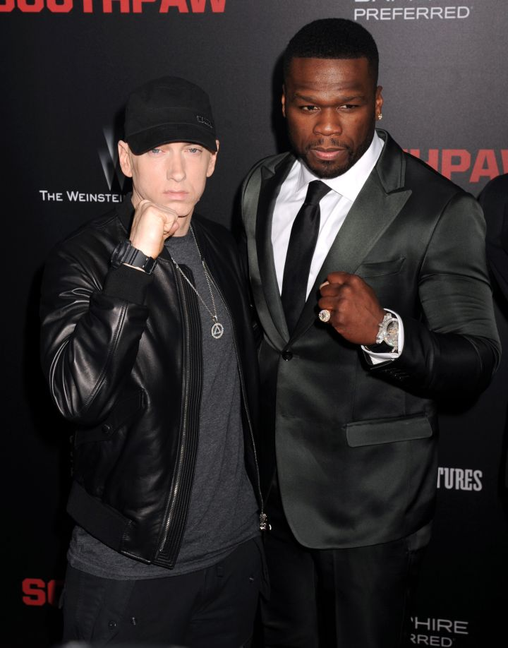 """50 Cent and Eminem tag team the """"Southpaw"""" premiere red carpet in NYC."""