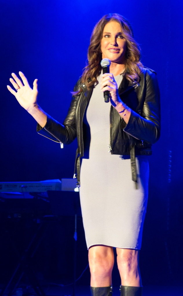 Caitlyn Jenner introduces the band Culture Club as they perform at the Greek Theater in Los Angeles, CA