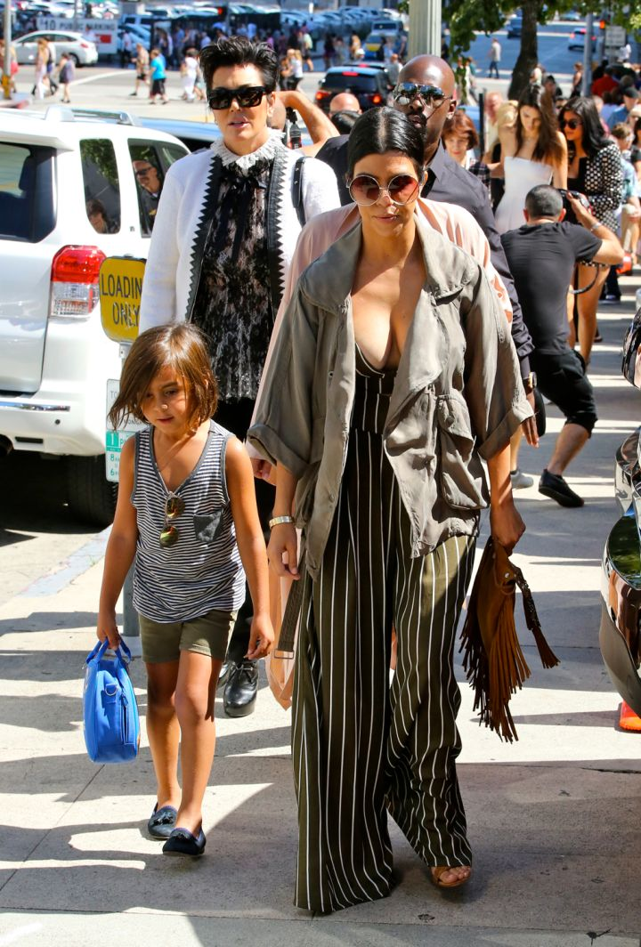Kourtney Kardashian and Mason Disick were spotted strolling through Hollywood.