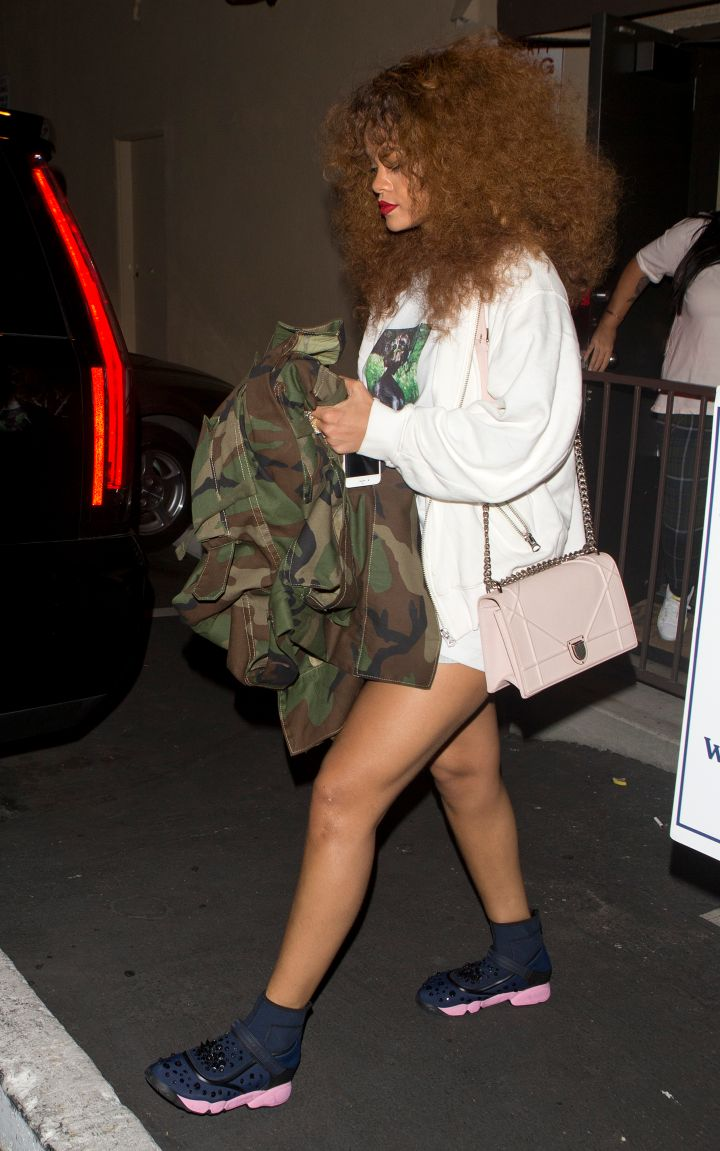 Rihanna showed off her toned legs while leaving a late night recording session in West Hollywood.