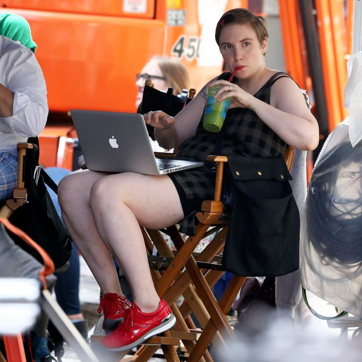 "Lena Dunham, this picture should be a poster for zero phucks given. She's just drinking green juice and writing million dollar scenes on her MacBook in Soho while filming ""Girls."""