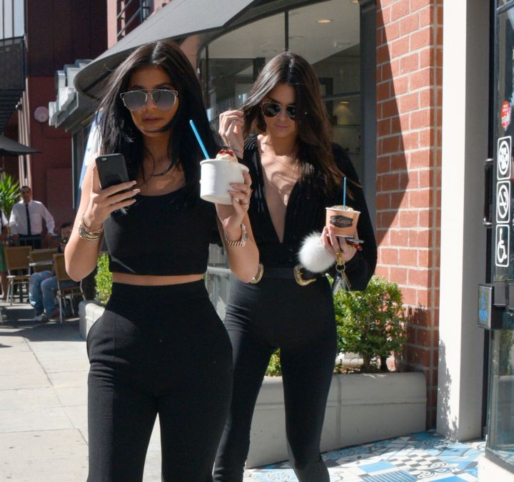 Kylie and Kendall Jenner were dressed in all black like The Omen, but that's not a wedding band on Kylie's hand.
