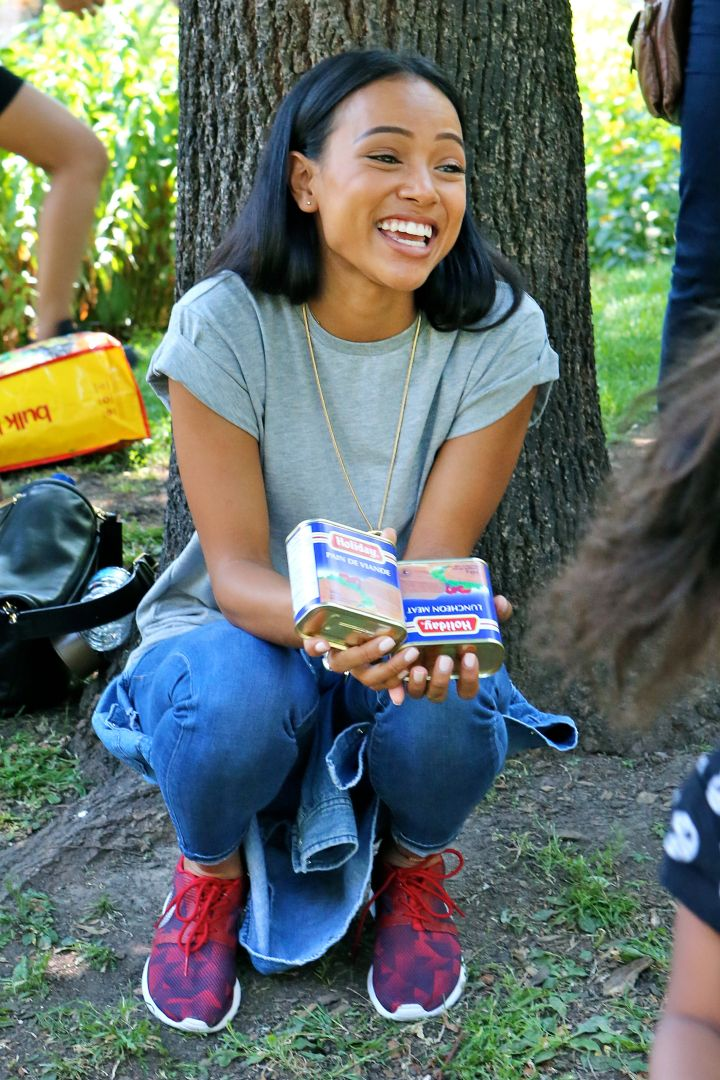 The beautiful Karrueche Tran was all smiles as she hosted a Food and Clothing Drive held at St. James Park in Toronto, Canada.
