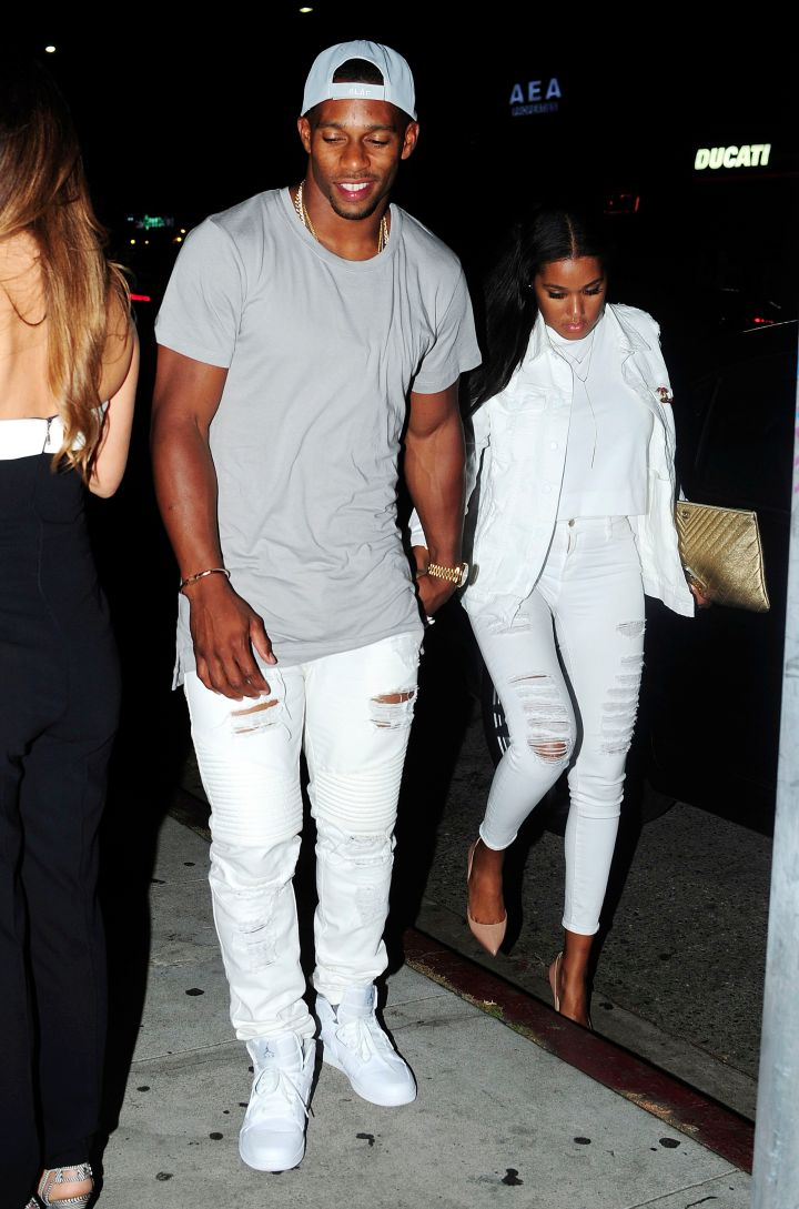 Giants star Victor Cruz and fiancee Elaina Watley wore white out in Los Angeles.