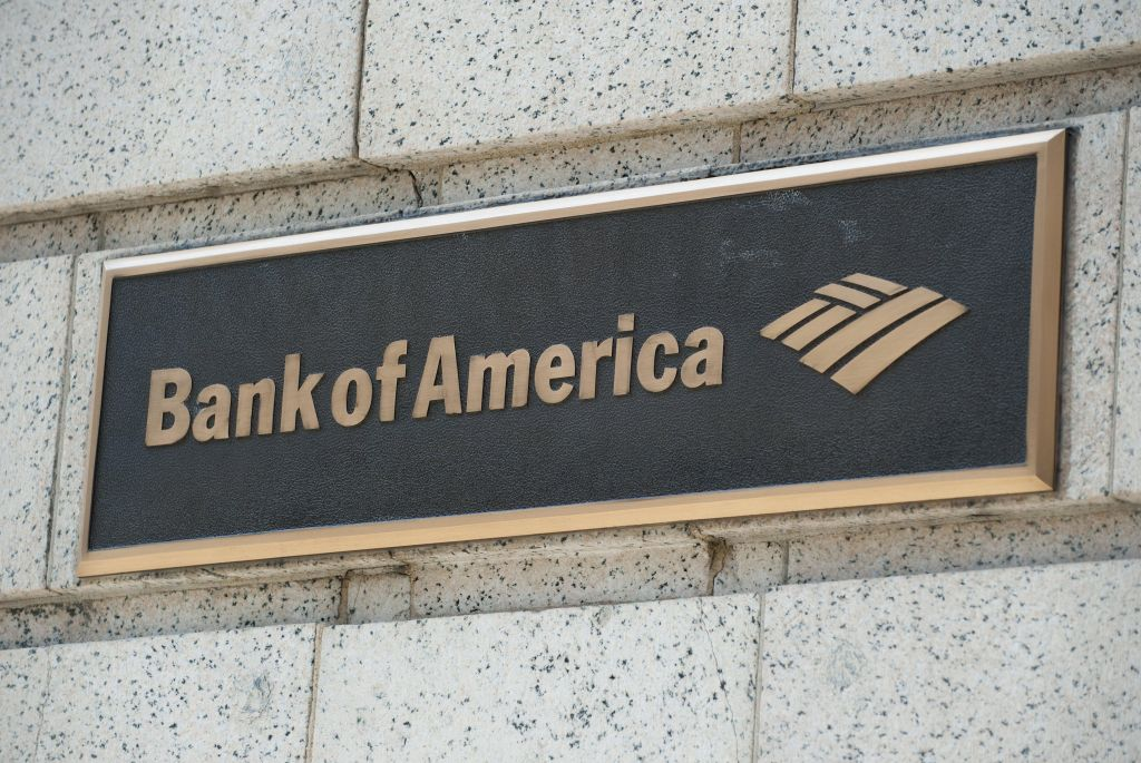 A Bank of America logo is seen outside a