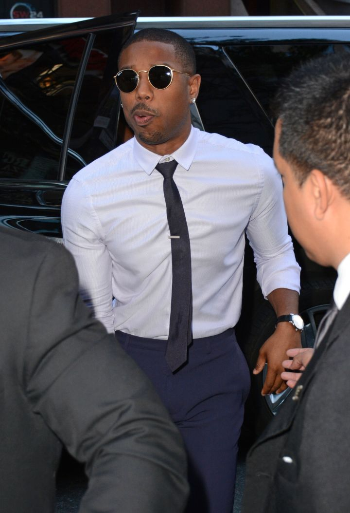 Michael B. Jordan was spotted heading to the Today Show in NYC.