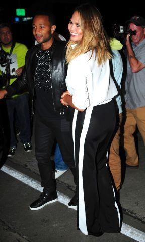 Chrissy Teigen and John Legend leave Craig's in Melrose, CA