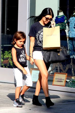 Kourtney Kardashian shops with Mason at TricoField in Beverly Hills