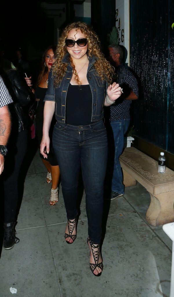 Singer Mariah Carey and friends at Matsro's Steakhouse in Beverly Hills for Dinner