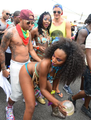 Lewis Hamilton spotted partying in Zulu International Band, Kadooment Day, Barbados.
