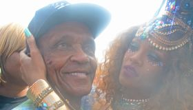 Rihanna seen with her Grandfather Crop Over day