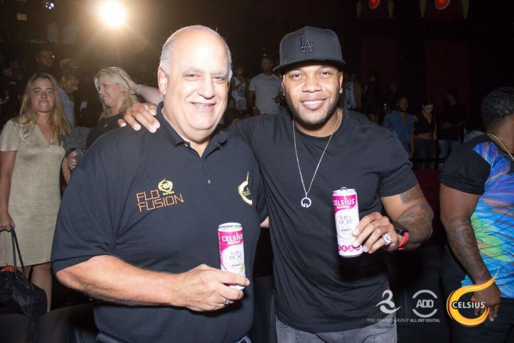 Flo Rida mingles with guests.