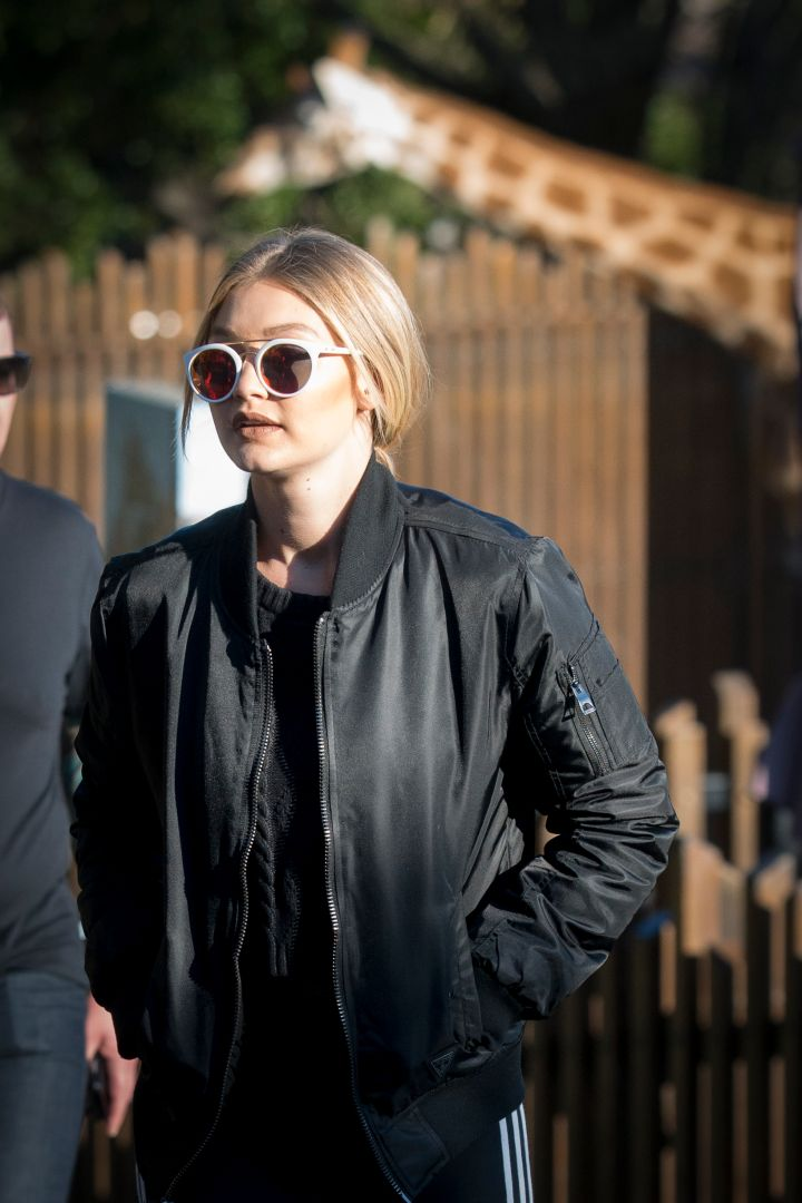 Gigi Hadid kept it casual as she hit Taronga Zoo with friends.