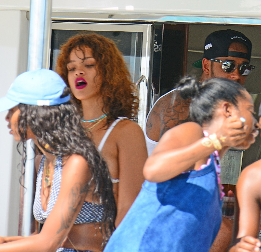 Rihanna and Lewis Hamilton on boat in Barbados together