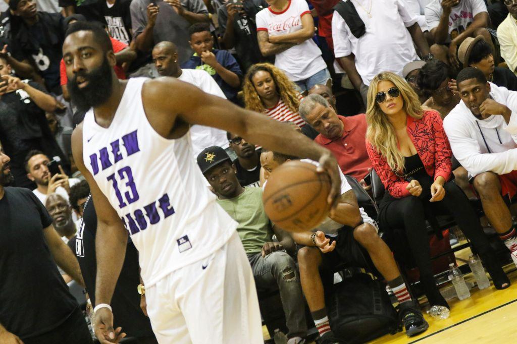 Khloe Kardashian attends reported boyfriend James Harden's Drew League basketball game in Compton