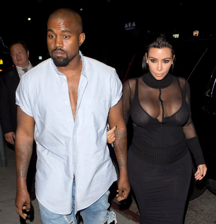 Kim and Kanye arrive at Bootsy Bellows.
