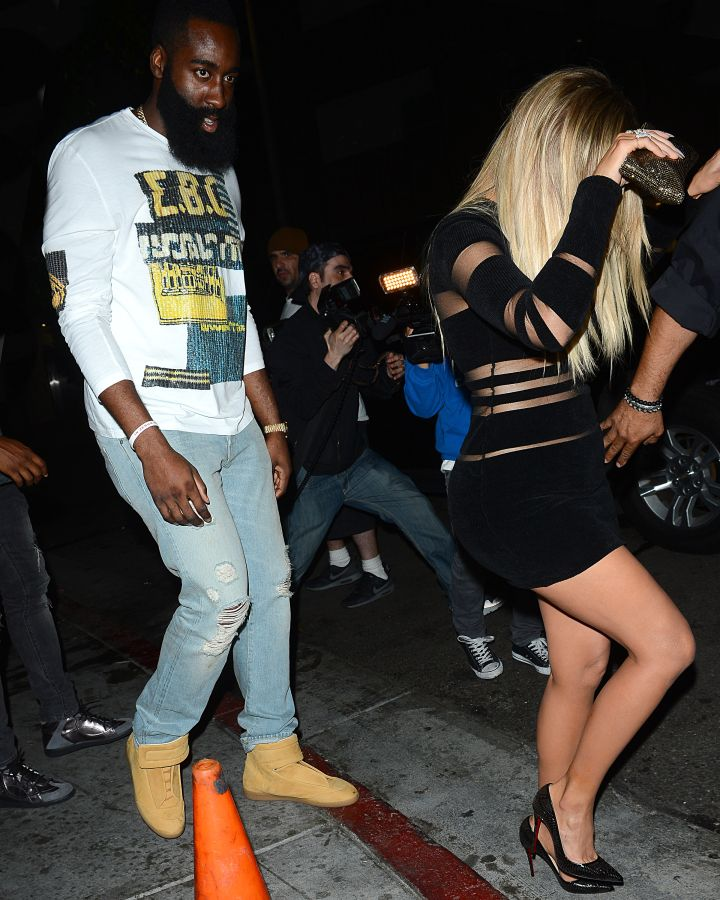 Khloe and rumored boyfriend James Harden arrive at Kylie's 18th birthday.