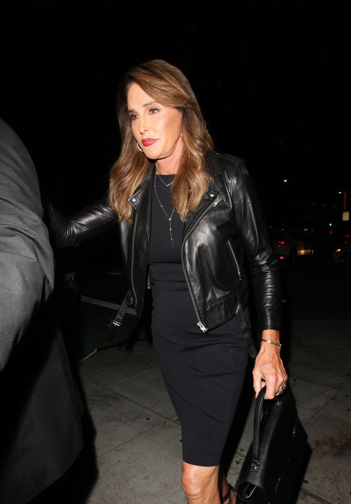Caitlyn Jenner donned all black as she arrived to daughter Kylie's 18th birthday party.