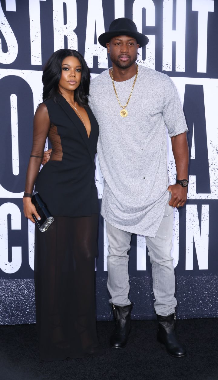 "Gabrielle Union and Dwyane Wade arrived for the red carpet world premiere of ""Straight Outta Compton"" at the Microsoft Theater L.A. Live in Los Angeles, CA. Nice tunic, D-Wade."