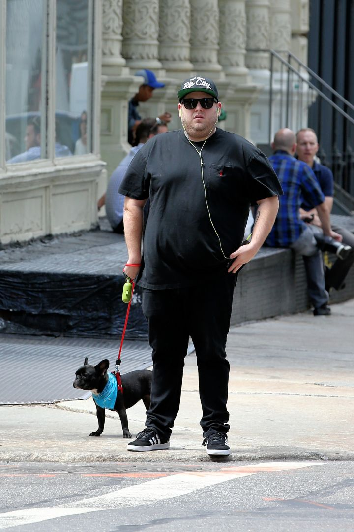 Twinsies! Jonah Hill walks his dog Carmela around the block and stops at a grocery store in NYC.