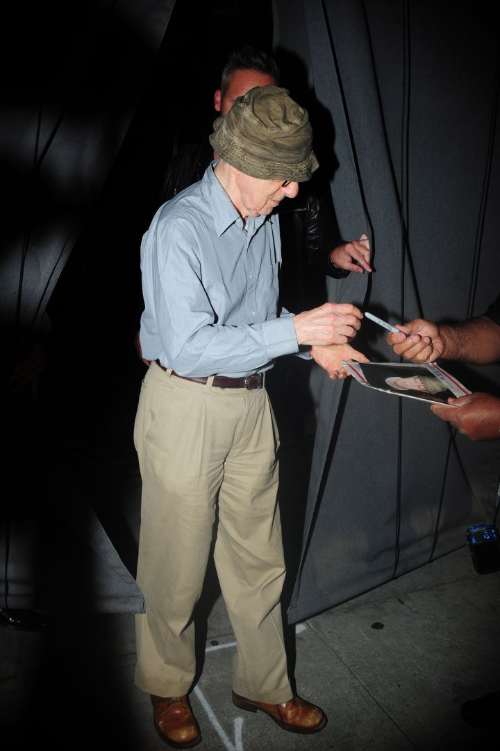 Woody Allen had it bucket low, like f*ck it tho, as he left dinner at Craig's in Melrose, CA.