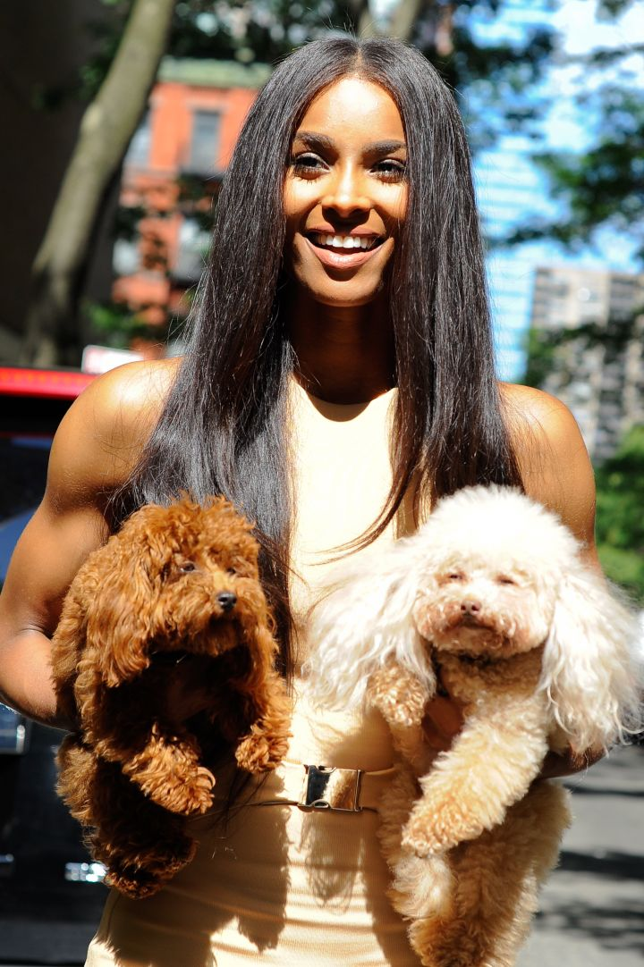"Ciara was on doggy duty as she hosted ""Live with Kelly and Michael"" this week. Look at those puppies."