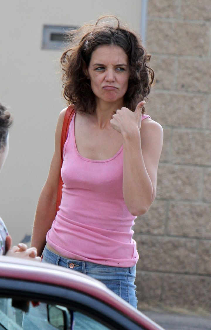"Katie Holmes was keeping it gangsta outside a pawn shop on the ""All I Had"" movie set in Staten Island."