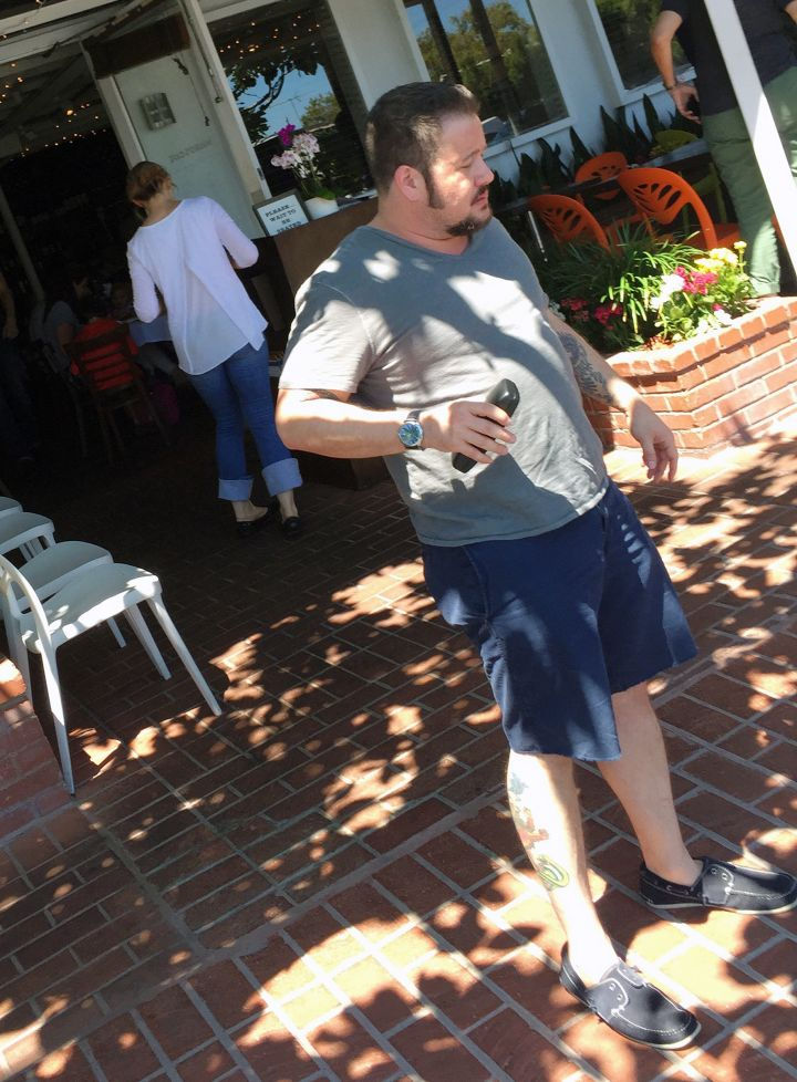 Chaz Bono was caught off-guard while out with friends in West Hollywood.