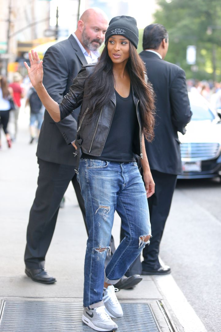 Ciara leaves her hotel wearing a leather jacket in the warm NYC weather.
