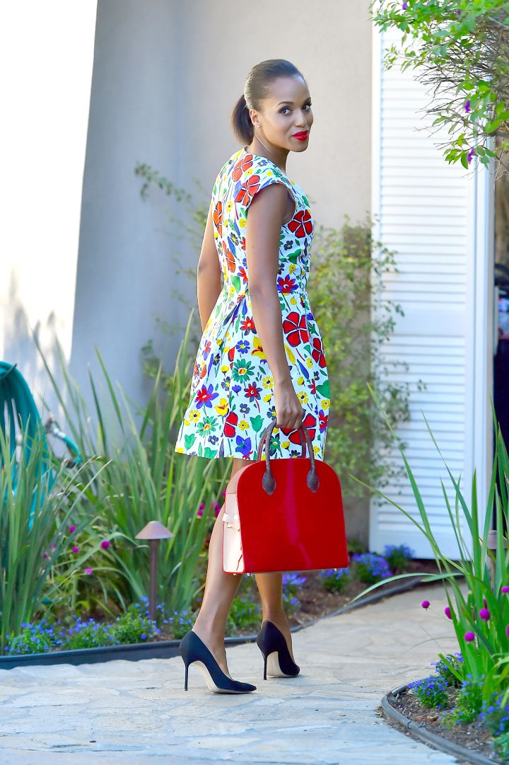 Kerry Washington was fabulous in floral in Brentwood, CA.