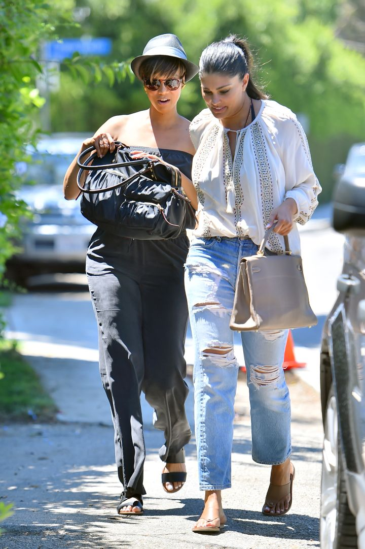 Tyra Banks and Rachel Roy kept it casual as they arrived at a gifting suite in Brentwood.