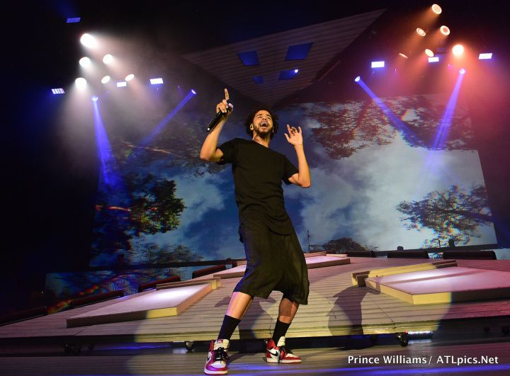 J. Cole took the stage Sunday night at Aarons Amphitheater in Atlanta.