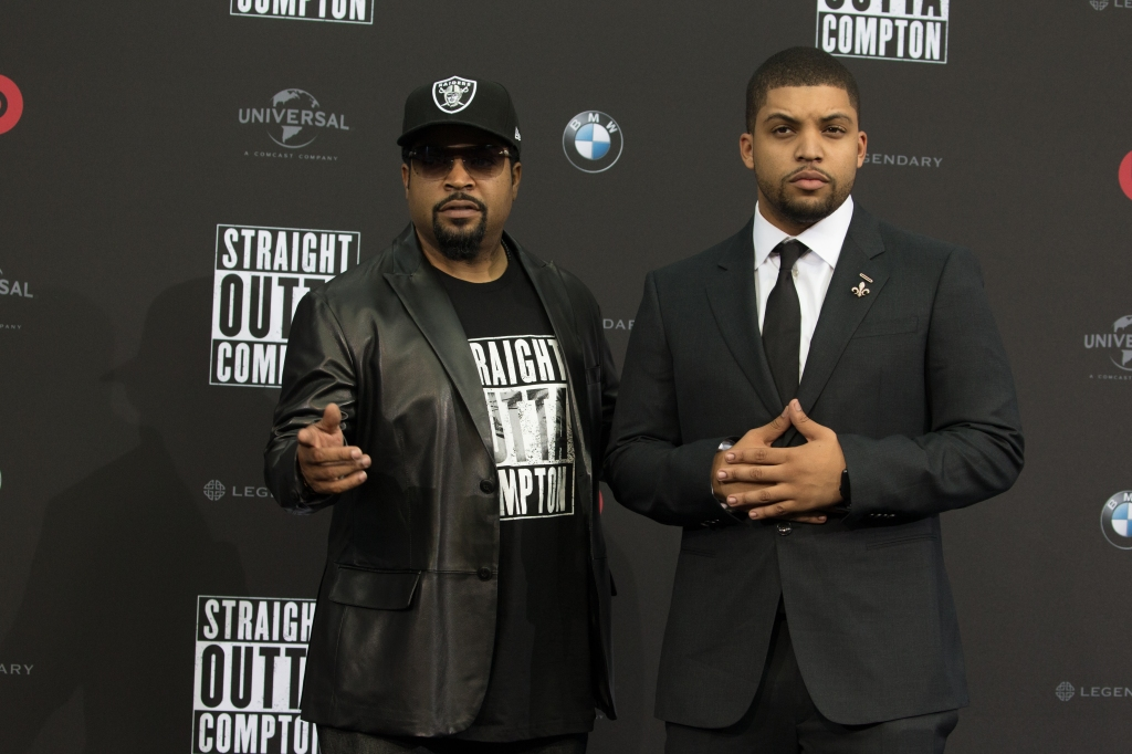 Ice Cube and son O'Shea Jackson Jr. at 'Straight Outta Comton' premiere