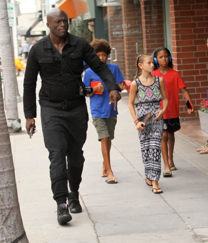Seal was on daddy duty while taking his kids to the doctor's office in Beverly Hills, CA.