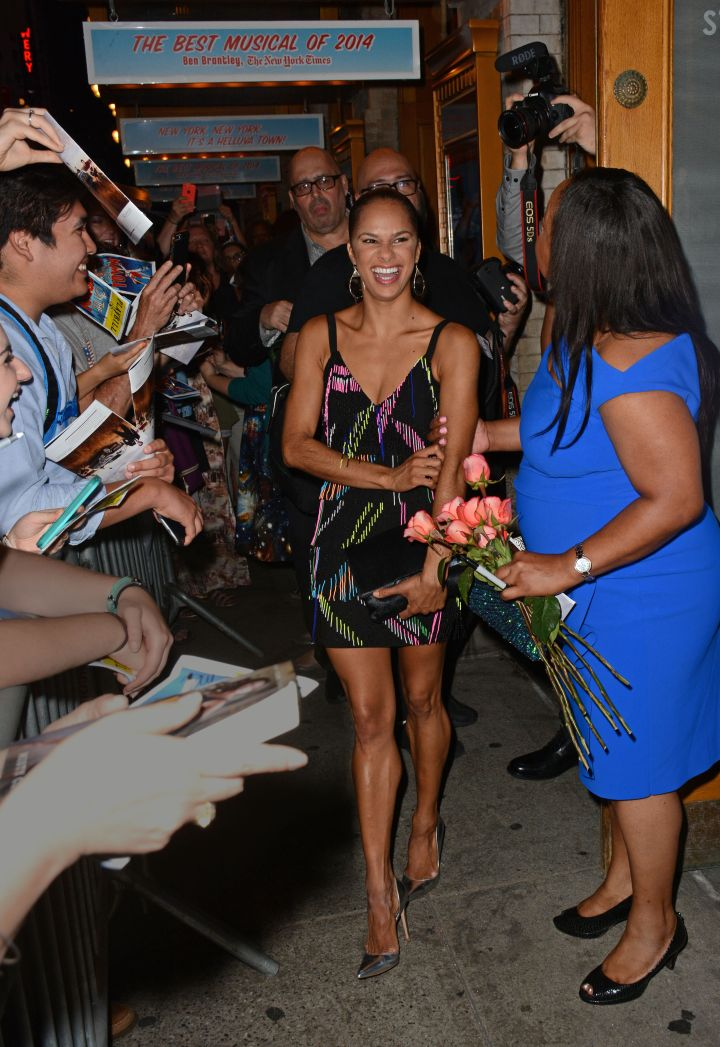 """After Misty Copeland made her Broadway debut as """"Ivy Smith"""" in the Tony nominated revival of """"On The Town,"""" numerous fans waited for her to leave the Lyric Theater in NYC."""