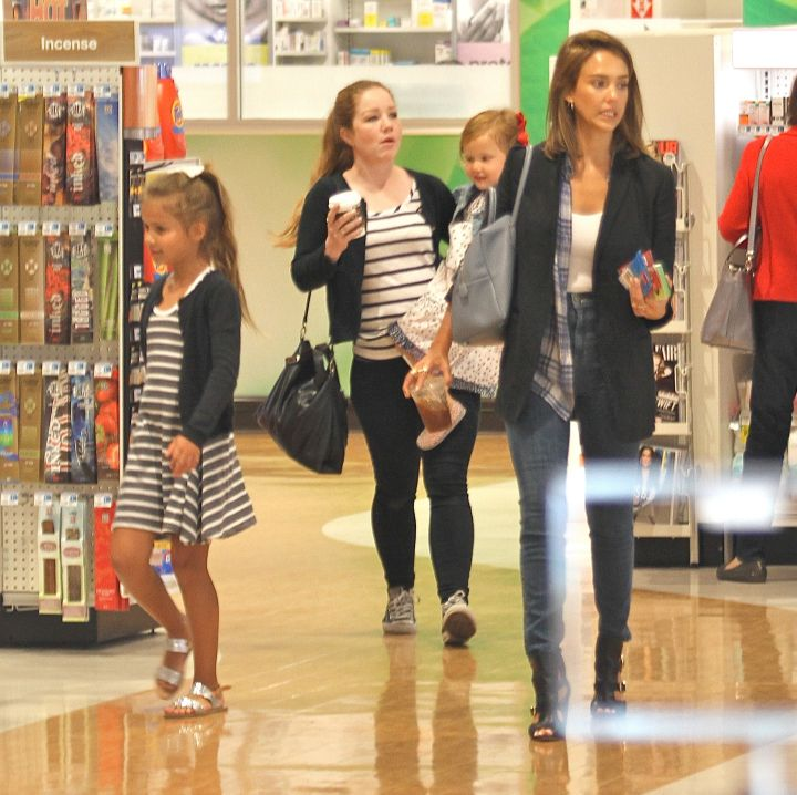 Jessica Alba and her daughters were spotted shopping at Rite Aid in Beverly Hills, CA.